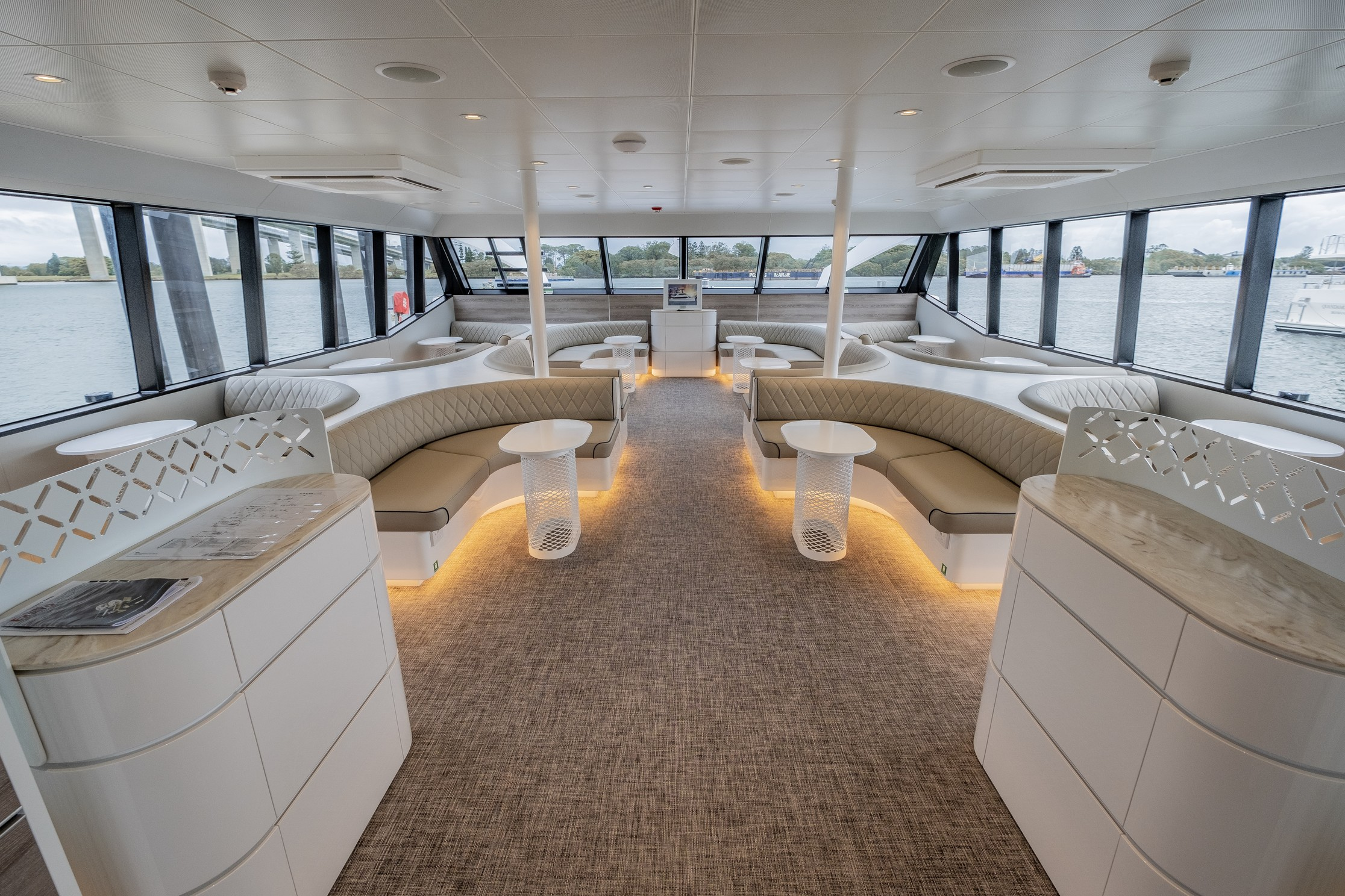 luxury boat interior with lighting under the seats