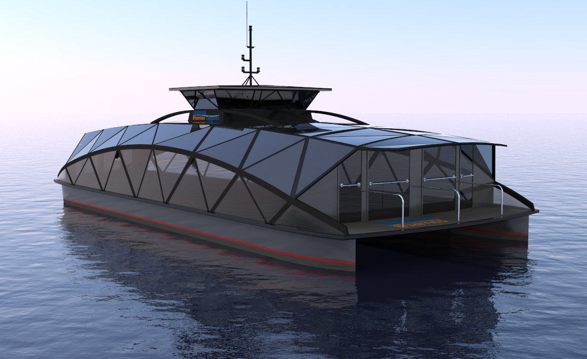 futuristic hybrid ferry concept render forward perspective