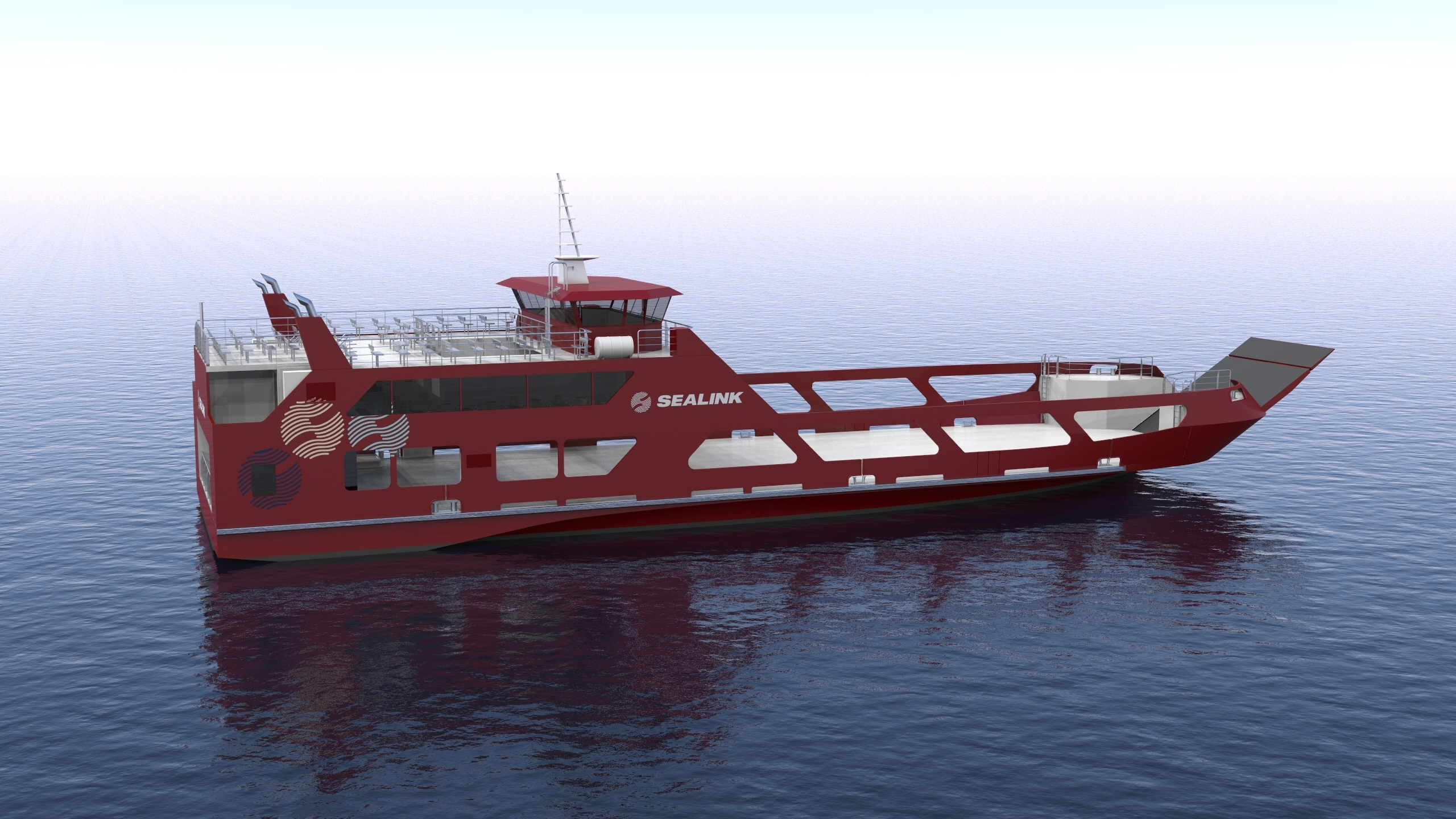 sealink ropax ferry render overall view starboard midship view