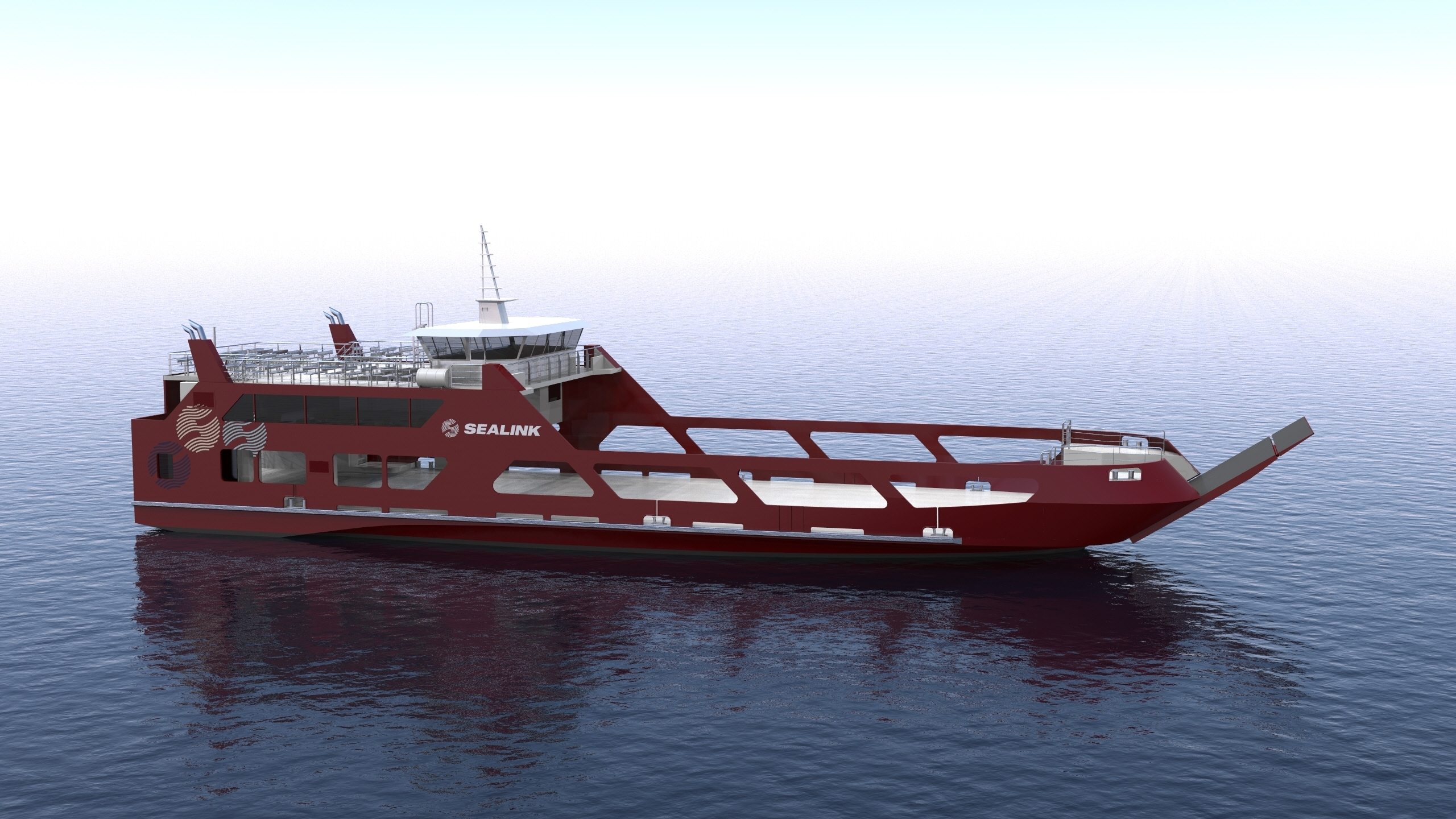 sealink ropax ferry render overall view starboard forward view