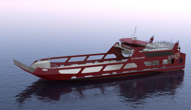 sealink ropax ferry render overall view port midship view
