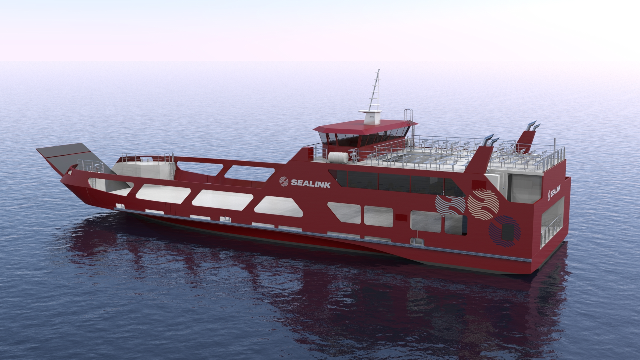 sealink ropax ferry render overall view port aft view