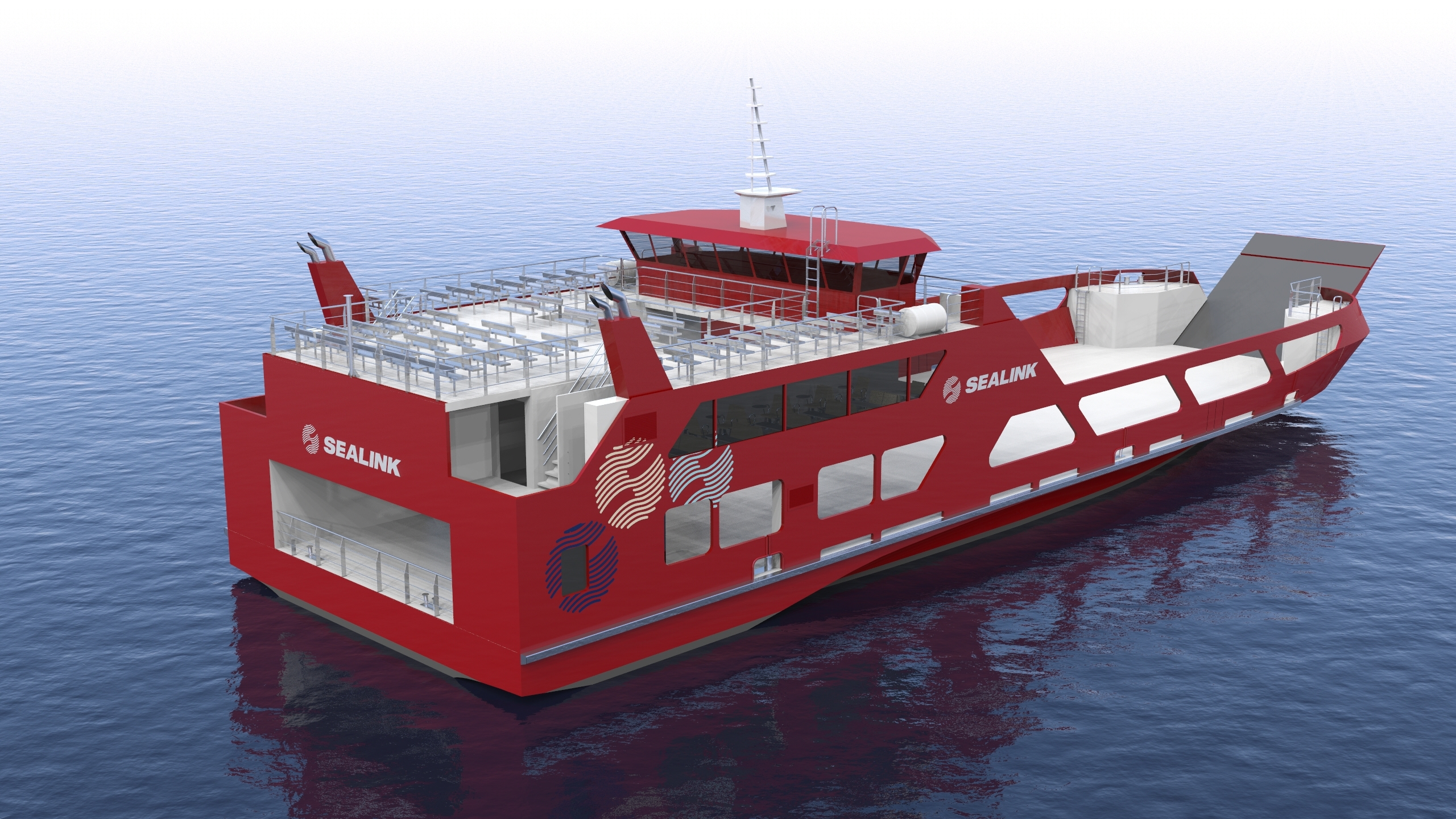 sealink ropax ferry render overall view starboard aft view