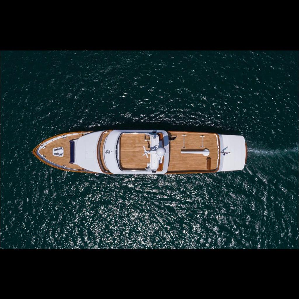 superyacht refit overhead drone photo